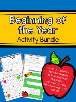 Beginning of the Year Back to School Activity Bundle