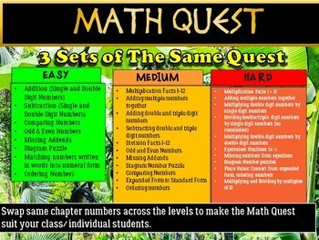 Beginning of the Year: Back to School Math Quest (Differentiated Set)