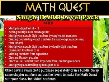 Beginning of the Year: Back to School Math Quest (HARD LEVEL Pack)