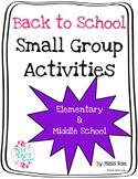 Back to School Small Group Activities l ALL content areas