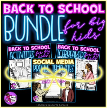 Back to School Bundle for big kids: all about me, icebreakers & profile template