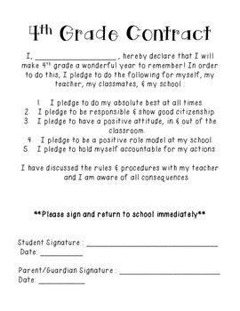Beginning of the Year Behavior Contract {FREEBIE}