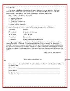 Beginning of the Year Behavior Expectation Letter