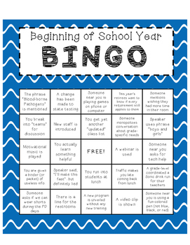 Beginning of the Year Bingo--- A Game for Teachers and Staff