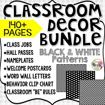 Beginning of the Year Big Bundle - Classroom Decor - Black & White Patterns
