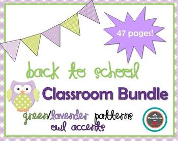 Back to School - Classroom Decoration Bundle- Lime/Lavender Patterns & Owls!