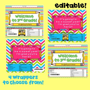 Beginning of the Year-Candy Bar Wrapper! 3rd Grade!