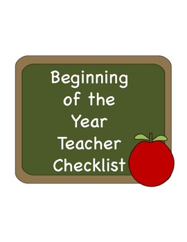 Beginning of the Year Checklist