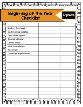 Beginning of the Year Checklist! **Editable!**