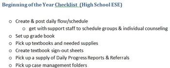 Beginning of the Year Checklist (High School ESE)