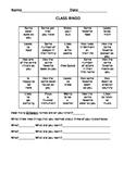 Beginning of the Year Classroom Bingo