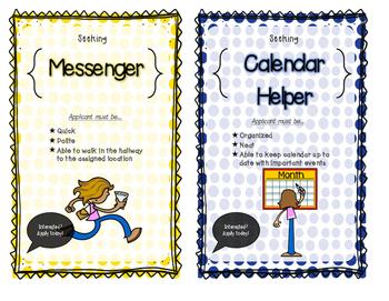Beginning of the Year Classroom Job Application & Job Posters