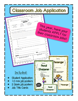 Beginning of the Year Classroom Job Application & Job Posters