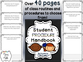 Beginning of the Year Classroom Procedure Handbook For Students BY STUDENTS