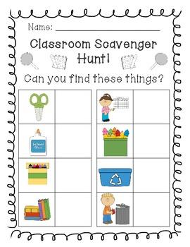 Back to School Classroom Scavenger Hunt!