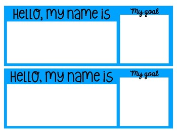 Beginning of the Year - Colorful Nametags w/ Goals