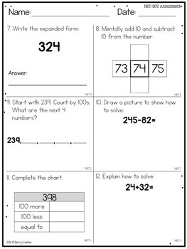 Beginning of the Year Common Core Math Assessment