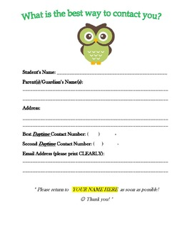 Beginning of the Year Contact Form