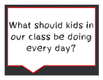 Beginning of the Year Conversation Starters- Black and Gray Chevron