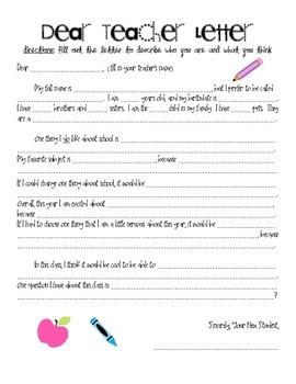 Beginning of the Year Dear Teacher Letter