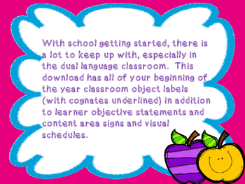 Beginning of the Year Dual Language Illustrated Classroom Labels and More