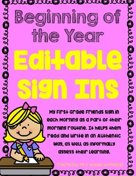 Beginning of the Year EDITABLE Sign Ins