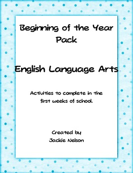 Beginning of the Year ELA Activity Pack