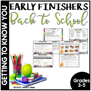 Beginning of the Year Early Finisher Task Cards