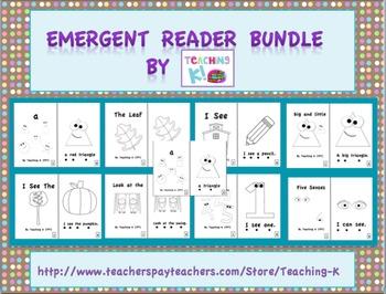 Beginning of the Year Emergent Reader Books Bundle Level A Kindergarten