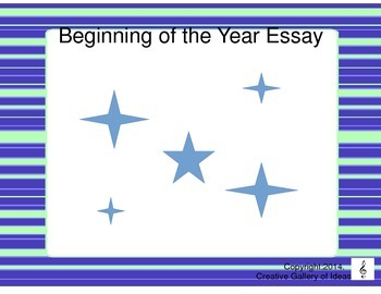 Beginning of the Year Essay