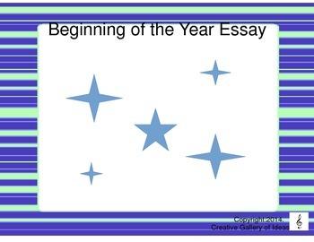 Beginning of the Year Essay