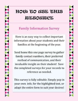 Beginning of the Year Family Information Survey {EDITABLE!}
