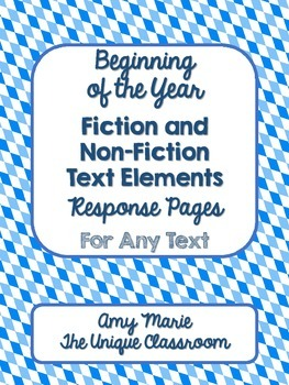 Beginning of the Year Fiction and NonFiction Text Elements