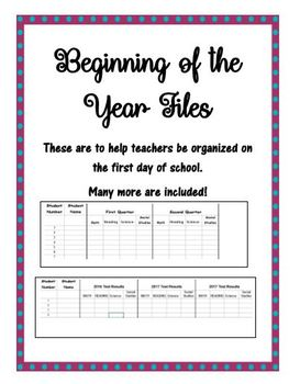 Beginning of the Year Files
