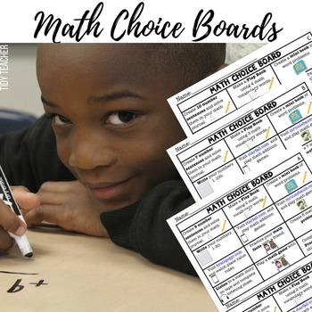 Beginning of the Year First Grade MATH Center Choice Boards