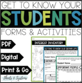 Beginning of the Year Forms & Activities {Digital & Paper