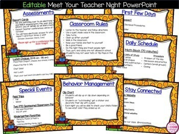 Meet the Teacher PowerPoint and Back to School Forms (editable)