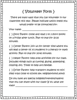 Beginning of the Year Forms for Parents