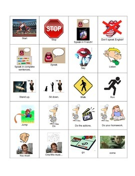 Beginning of the Year French Classroom Directions Flashcards