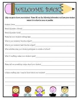 """Beginning of the Year """"Getting to Know Your Student"""" Form"""