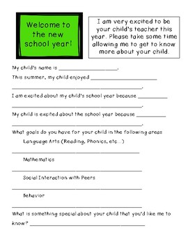 Getting to Know You Survey for Students & Parents w/ Learning Styles Survey