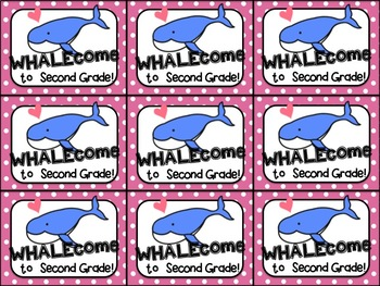 Beginning of the Year Gift Tag (WHALEcome to first, second, third grade)