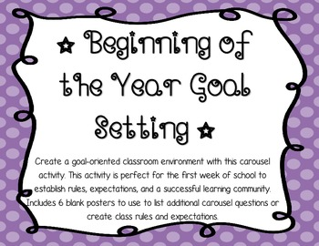 Beginning of the Year Goal Setting (Individual and Whole Class)
