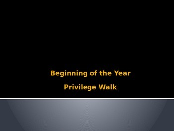Beginning of the Year Ice Breaker (Privilege Walk)
