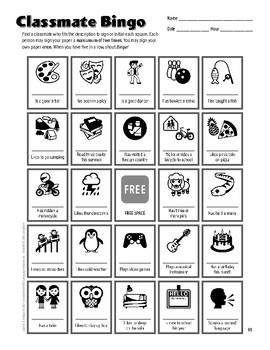 Back to School Icebreaker Classmate Bingo Game for Middle and High School