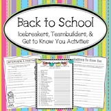 Beginning of the Year- Icebreakers, Team Building & Get to