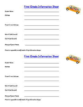 Beginning of the Year Info Form