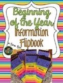 Beginning of the Year Information Flipbook
