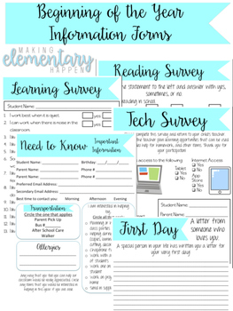 Beginning of the Year Information Forms