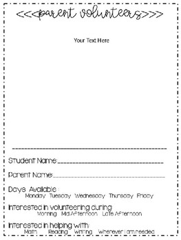 Beginning of the Year Information Letters